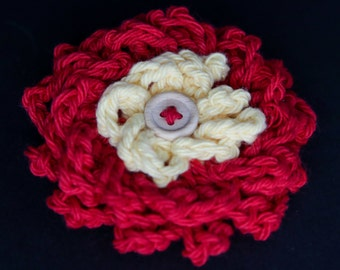 Crochet Flower Hair Clip - red with yellow center and wood button