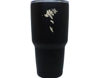 Faroe Islands Black Stainless Steel Tumbler, 30 Oz Insulated Tumbler, Laser Etched In Usa
