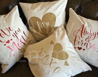 Glitter/Foil Pillow Covers, Heart Pillow Cover, Love you Most Pillow Cover, XOXO Pillow Cover, Love Pillow Cover