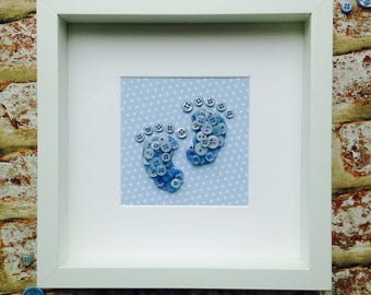 Baby boy button feet frame
