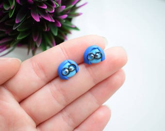 Fimo handmade earrings inspired by Sadness Inside Out