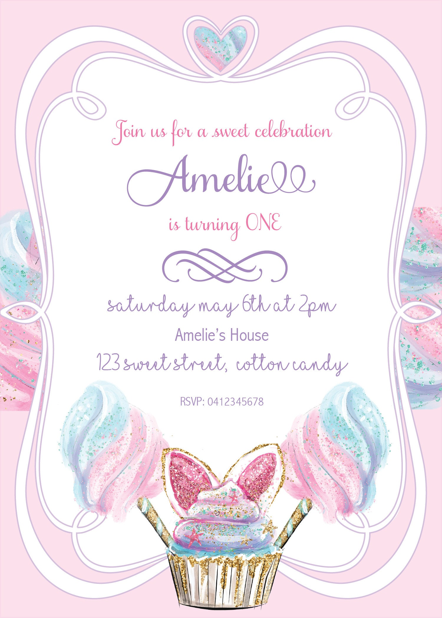 Cotton Candy Invitation, Sweet Little One, Sweet Shoppe, Fairy Floss ...