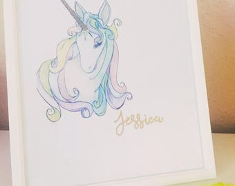 Personalised Unicorn handmade Frame