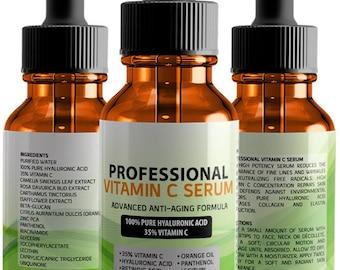 Professional Vitamin C Serum with 100% Pure Hyaluronic Acid and Retinoic Acid 2 fl.oz. (60ml)