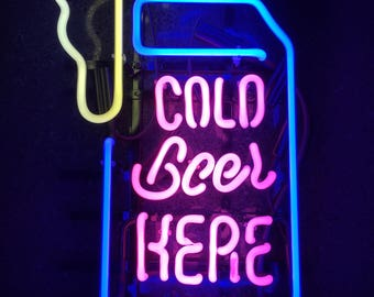 "16"" Tall Cold Beer Here - Convenience Store - Gas Station - Truck Stop - Neon Sign"