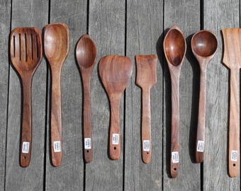 8 Wooden Ladles, Handcrafted ladle, Rustic Vintage ladle, Wooden spoons, Natural serving spoons, Soup ladle, Spatula with holes, Cooking