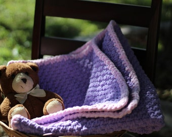 Pink and Lilac Crochet Baby Blanket