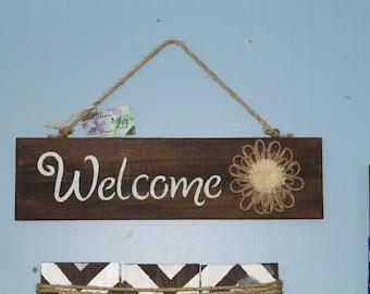 Handmade wood flower WELCOME sign