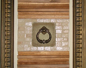 Original abstract mosaic mixed media art - the work is of paradise-beige-Brown-green - art to embellish
