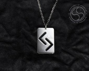 Jera Rune Pendant Viking Symbol Stainless Steel Jewelry Jeran Rune Necklace Keychain J Rune Logo Y Rune Emblem Elder Futhark Talisman Sign