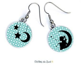 Boucles d'oreilles cabochons,fillette,lune,étoiles/ref:242