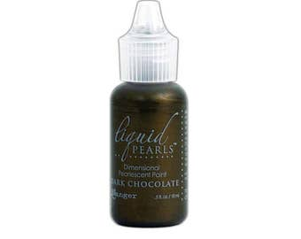 Ranger Dark Chocolate, Liquid Pearl, Dimensional Paint for Paper and Fabric, .5 oz