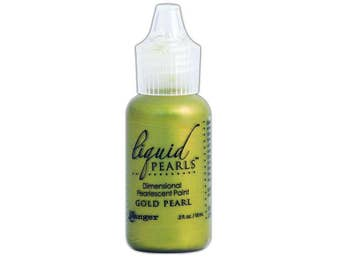 Ranger Gold Pearl, Liquid Pearl, Dimensional Paint for Paper and Fabric, .5 oz