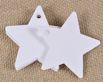 50 tags labels stars tabs white 6cm