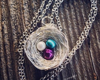 Bird Nest Necklace, Eggs and Nest, Mother's Necklace, Nest Pendant, MTO, Made to Order