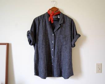 Vintage Linen/Flax Rayon Navy Boxy Buttondown Blouse - Textured - Minimalist - Chico's Design
