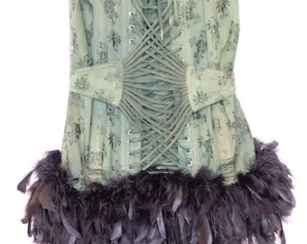 Stunning Victorian style Corset ,1950s,burlesque, green, black feathered,boned,belted, laced, lined ,THE JP CORSET,