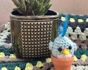 Crochet blue bird, little bird, birdy, birdie