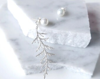Real Leaf Earrings with Pearls, Leaf ear jacket with pearl studs, asymmetrical earrings, unbalanced earrings
