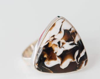 RESERVED! Please do not purchase.  All Natural • solid sterling SILVER • Ring • Size 9 • Beautiful Peanut Jasper