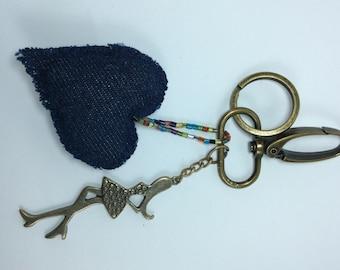 Keychain.Fabric keychain,Keychai Ideas,Handmade Keychain,Chic Keychain with demin blue Heart