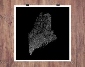 Maine Roads High Resolution Digital Print / Map of Maine / Maine Print / Maine Wall Art / Maine Poster / Maine Map Art / Maine Map Print
