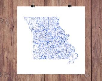 Missouri Map - High Res Digital Map of Missouri Rivers / Missouri Print / Missouri Art / Missouri Poster / Missouri Gift / Missouri Wall Art