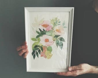 Japanese Garden - A fine art print of my watercolor painting // for her // watercolor gifts // soft pink and green home decor // floral art