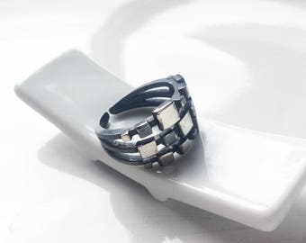 Mondrian-02: square - oxidized and polished sterling silver ring.
