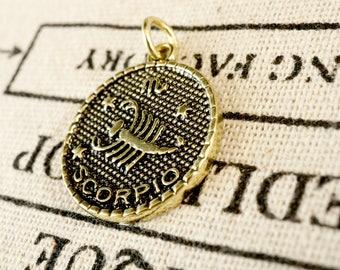 Zodiac Scorpio charm gold vintage style pendant jewellery supplies C228