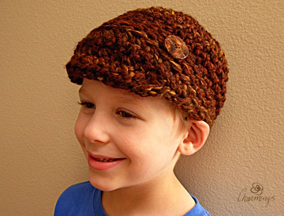 David's Newsboy Cap, Crochet Newsboy Hat, Hat with button, unisex newsboy hat, boys hat, men's hat, girl's hat