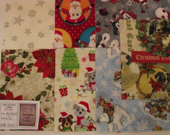 Xmas quilting fabric pre-cut into 14 x 6 1/2 inch squares