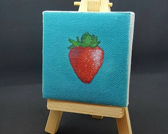 """2.75x2.75"""" Strawberry Miniature Printed Canvas and Easel"""