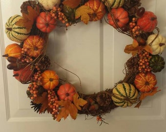 Fall wreath / front door wreath / door wreath / holiday wreath / pumpkin wreath/ thanksgiving