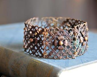 vintage brass filigree bracelet, floral  bracelet, antique style bohemian bracelet