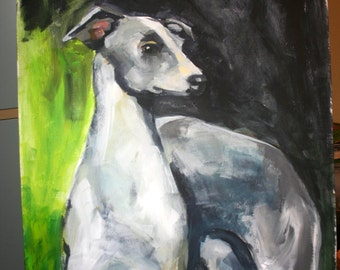 Greyhound Dog in acrylic paints