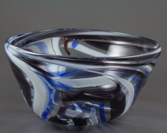Blue and Black Glass Blown Bowl