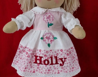 personalised rag doll christmas flowergirl new baby birthday christening etc 40cm 16""