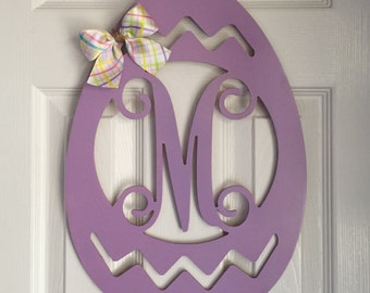 Monogram Easter Egg Door Hanger - Spring Door Hanger - Easter Egg Initial Wreath - Monogram Easter Egg Wreath - Holiday Door Hanger