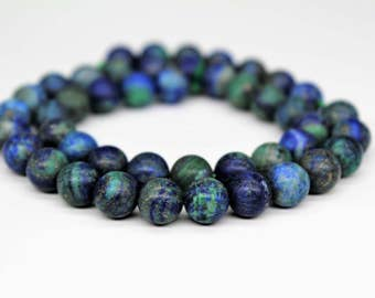 Matte Azurite Chrysocolla Gemstone Round Loose beads 6/8/10mm