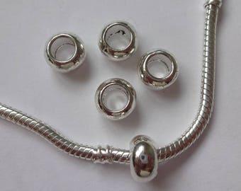 Bright Silver Donut Charm Spacer Beads 10mm for European Snake Bracelets