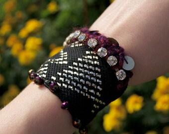 Reclaimed Assuit Cuff Bracelet - Gypsy Boho Bellydance Jewelry - Handmade in USA