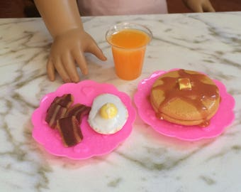 """Doll food for American Girl doll and 18"""" dolls,  1:3 breakfast, fried egg, pancakes, bacon, orange juice"""