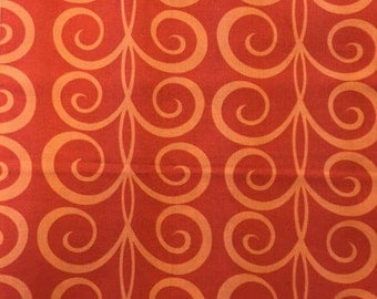 Michael Miller Twirling Tendvils ORANGE Pillow & Maxfield Cotton FABRIC per yard continuous