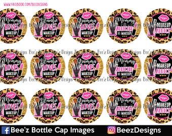 Leopard Makeup Addict- INSTANT DOWNLOAD- 1 inch Bottle Cap Images