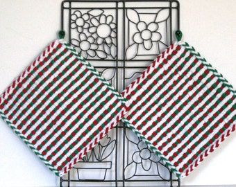 "GK's Kitchen - One Pair 8"" x 8""  - Jumbo Red, Green and White Potholders.   Item # GK's Kitchen - Winter 00407"