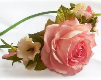 Pink wedding accessories Pink bridal Rose headband Bridal wreath Bridal flower crown Flower for hair Flower Fascinator Wedding flower Hair