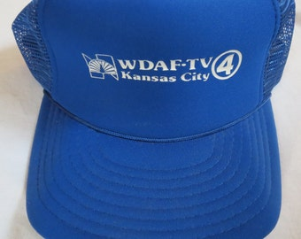 NBC WDAF-TV 4 Kansas City Television Station Vintage Trucker Cap Hat in Royals Blue Speedway Snap Back One Size Fits All