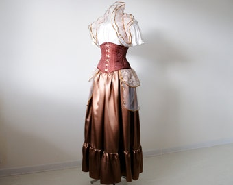 Steampunk bustle skirt lace brown overskirt victorian costume womens clothing alternative wedding dress bridesmaids skirt adult tulle tutu