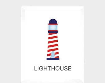SALE = Nautical Print - Lighthouse -  Digital Print - Nursery Decor - Baby Print - Instant Download - Nautical Decor - Nursery - Baby Print